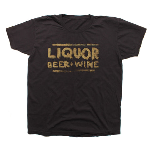 LIQUOR BEER AND WINE - Black Short Sleeve T-shirt