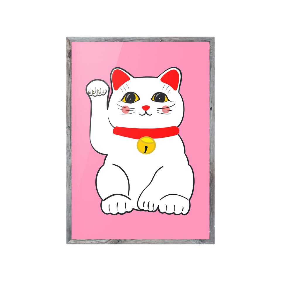 Lucky Cat Maneki Neko Pink Print