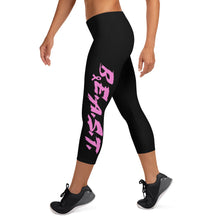 Load image into Gallery viewer, B.E.A.S.T. Breast Cancer Capri Leggings