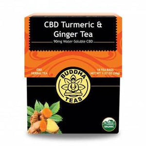 BUDDHA TEAS CBD TURMERIC & GINGER 5MG PER TEA BAG (90MG) - 18PCS