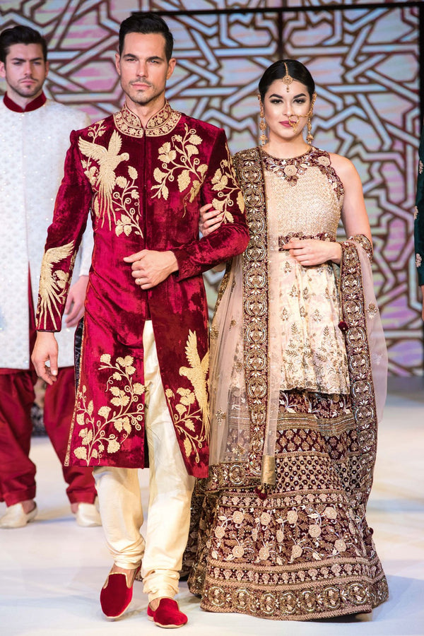 Mehroon & Gold Bride-Groom Sherwani and Lehenga