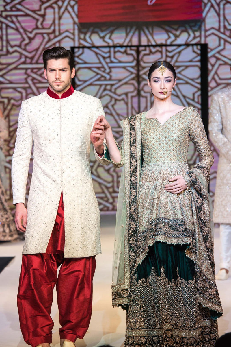 Mint & Emerald Peplum Lehenga and Ivory Mehroon Sherwani