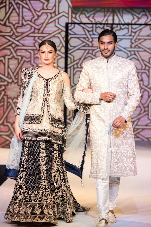 Grey-Navy Lehenga and Ivory Sherwani