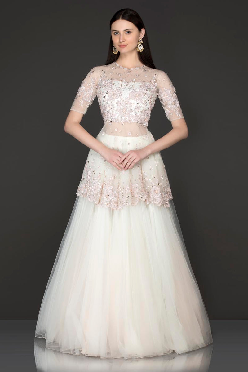 White Colour Net Peplum Top And Net Skirt With Pink Sequence Embroidery