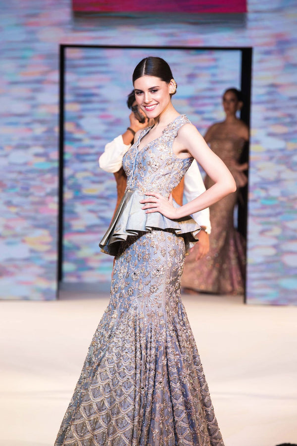 Grey Fish-cut Bridal Peplum Lehenga