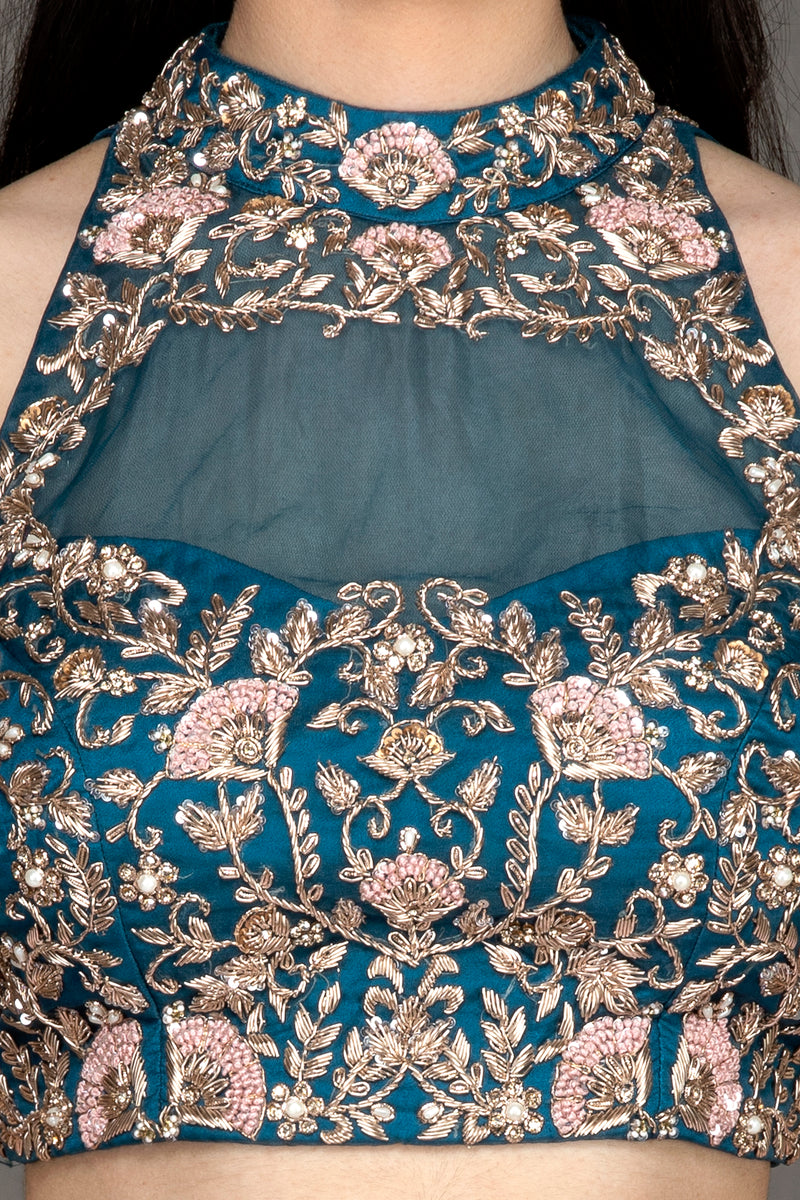 Turquoise embroidered top & pink skirt