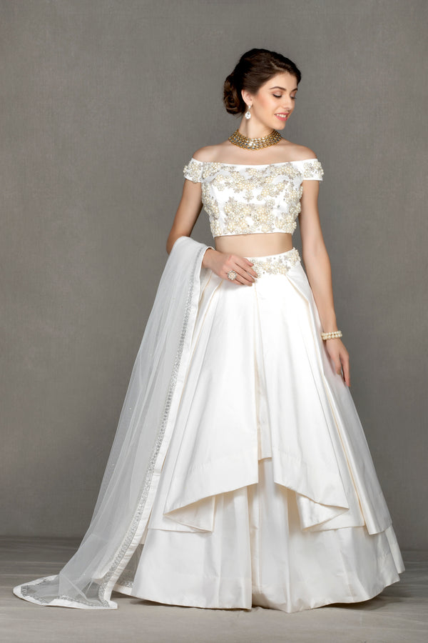 Off-Shoulder Flared Lehenga