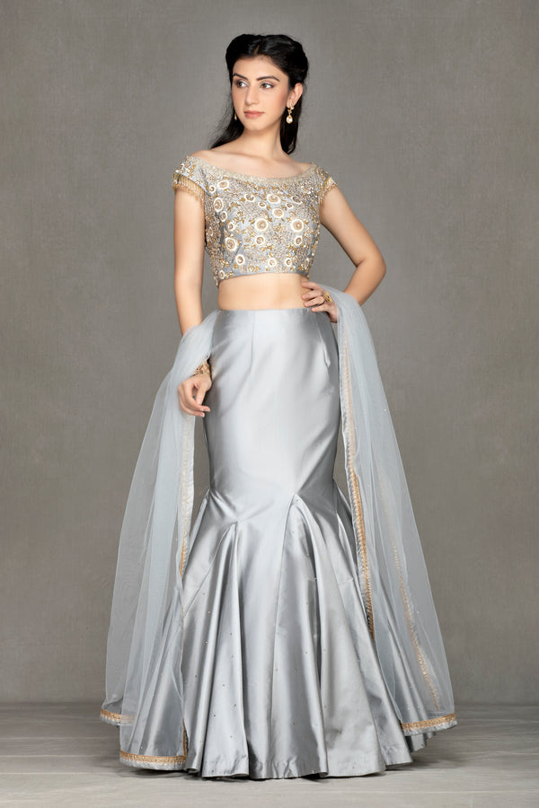 Fish Cut off-shoulder Taffeta Lehenga