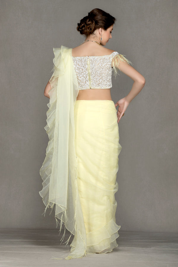 Drape Saree with feathers