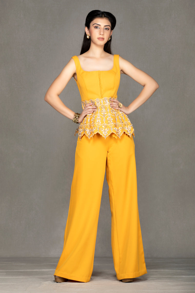 Mustard Yellow peplum with Pants