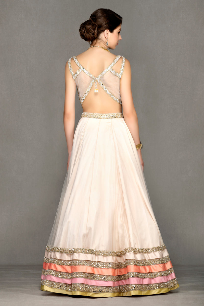 Lehenga with Net Skirt and Heavy Top
