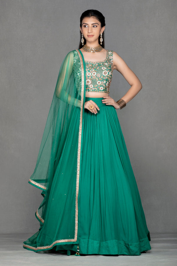 Dark Green Georgette Lehenga