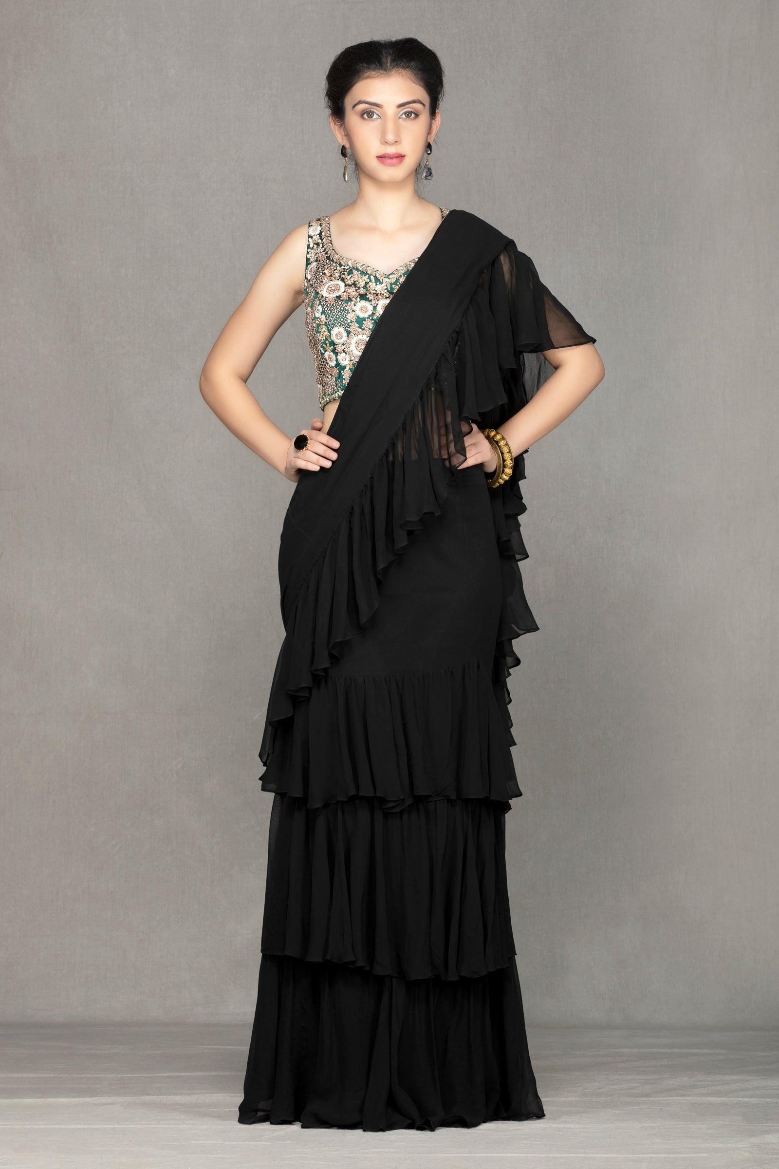 Black Georgette Saree with flairs
