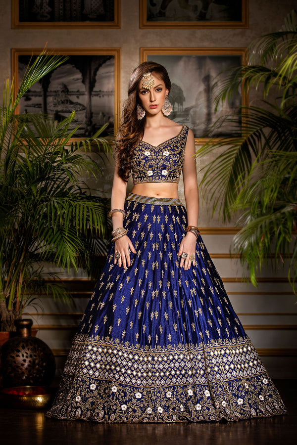 Semi Bridal Royal blue Lehenga with Contrast scarf