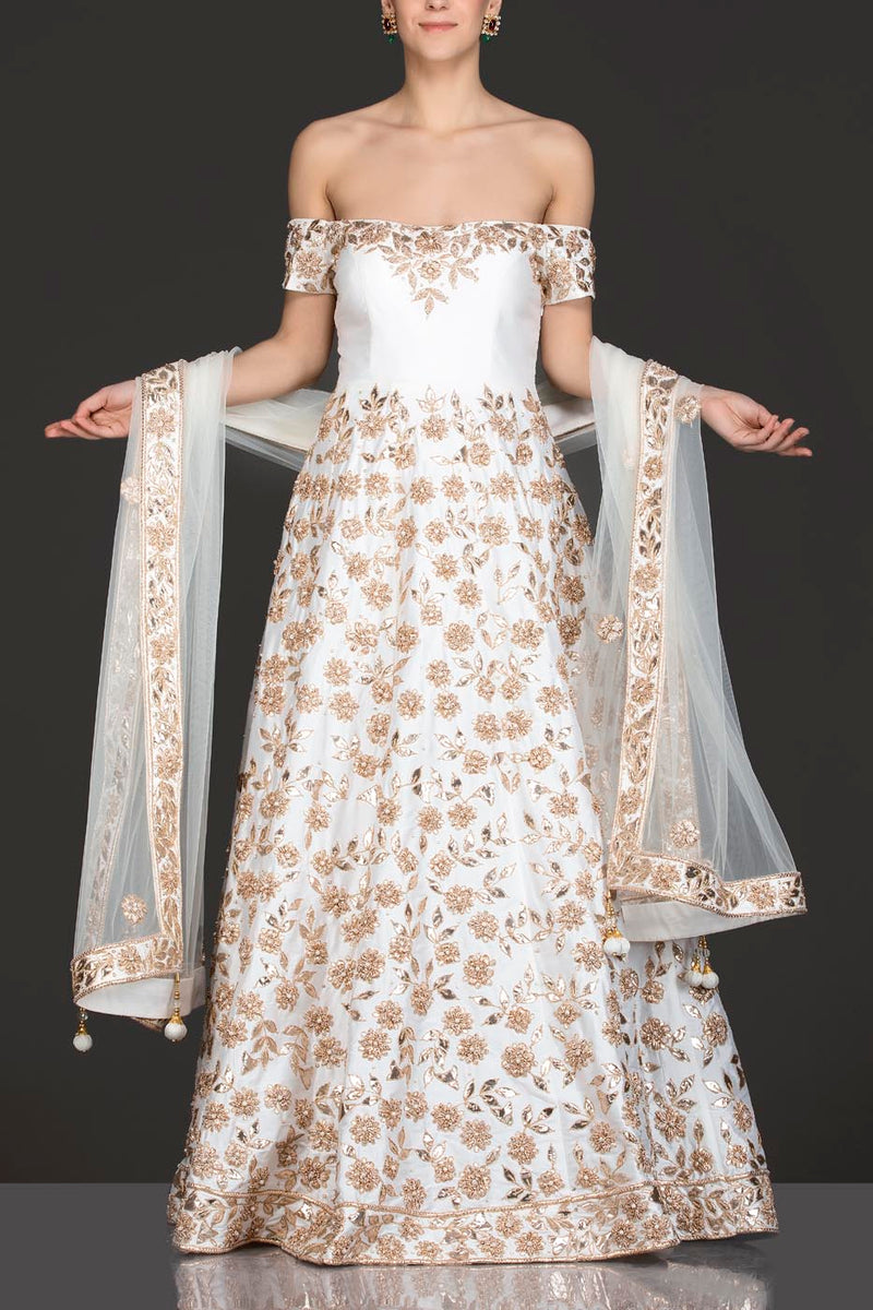 Ivory Silk Anarkali/Gown With Net Dupatta, Gota Patti And Pearl Embroidery