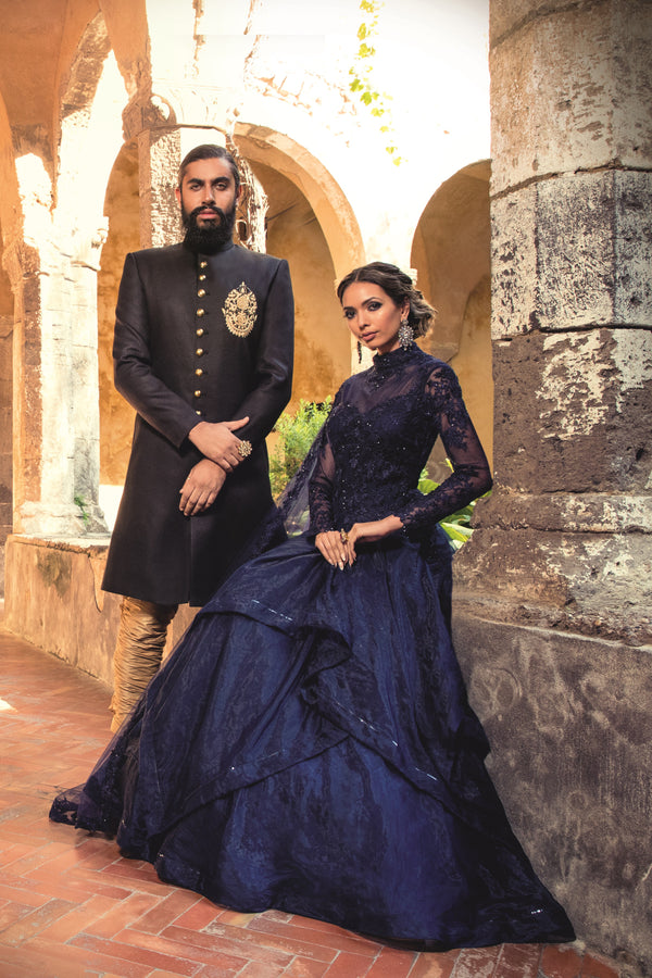 Navy Organza ball Indo/Western Gown