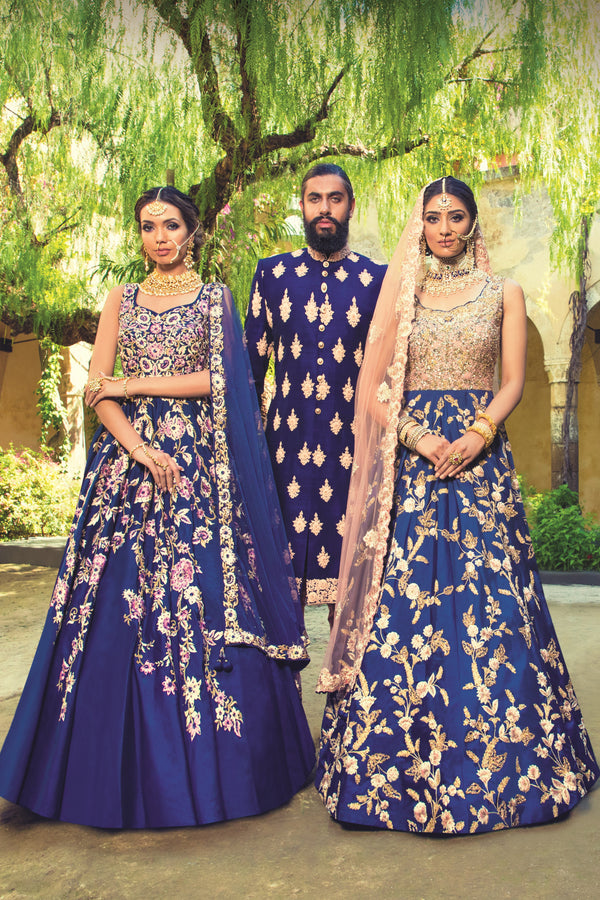 Royal Blue Gown with Sherwani
