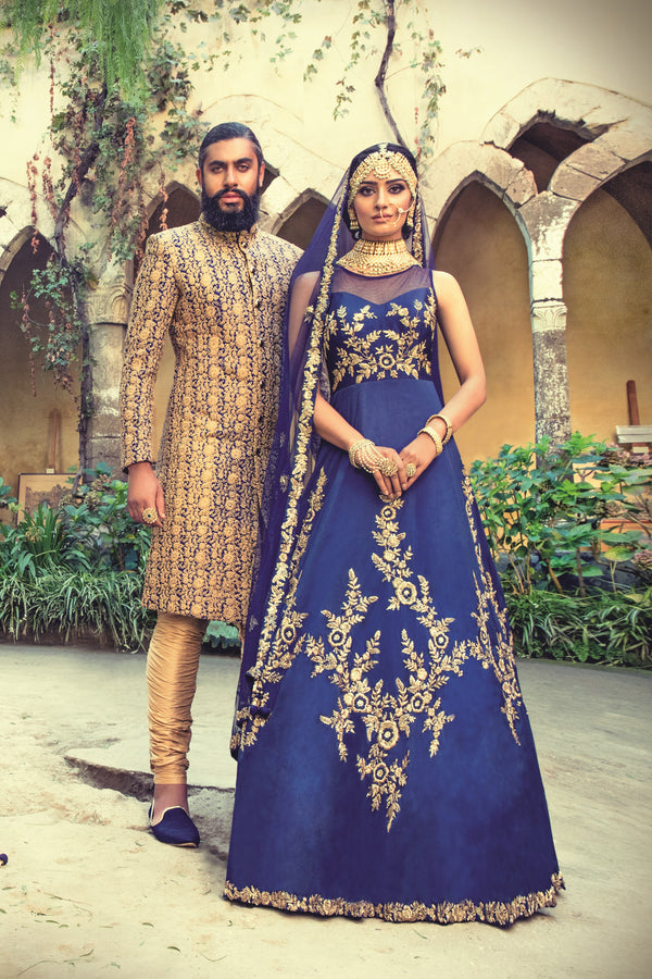 Royal Blue Semi bridal Gown