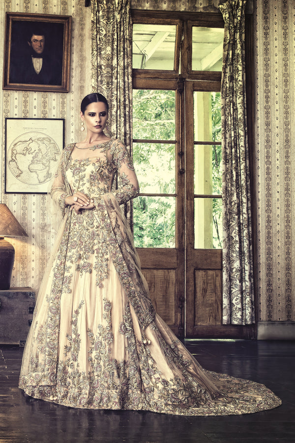 Golden Bridal Net Gown with Trail