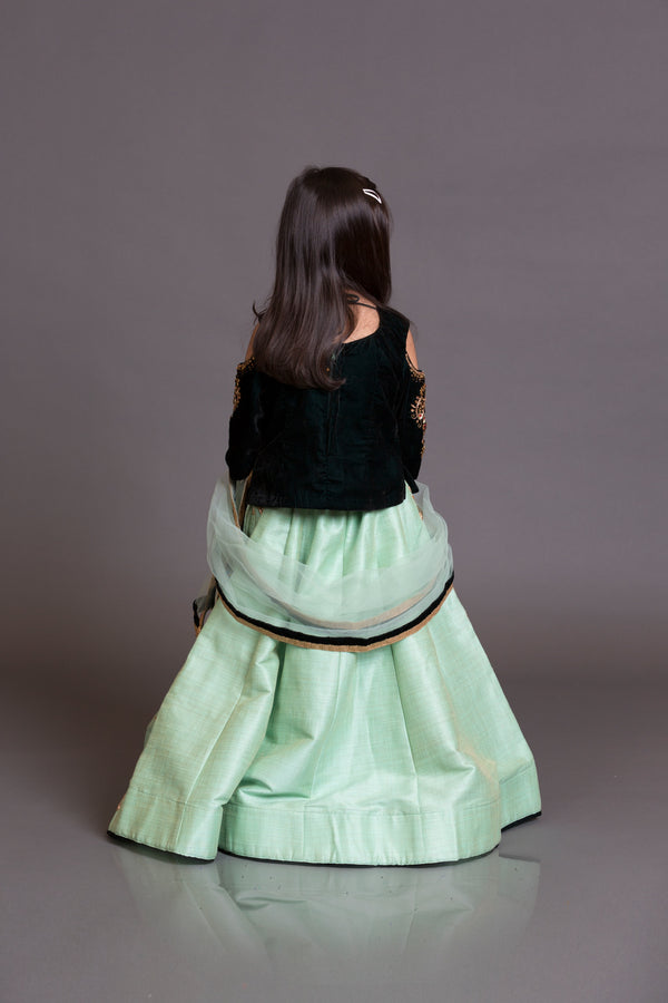 Kidswear navy blue top with mint green silk skirt and mint green net dupata
