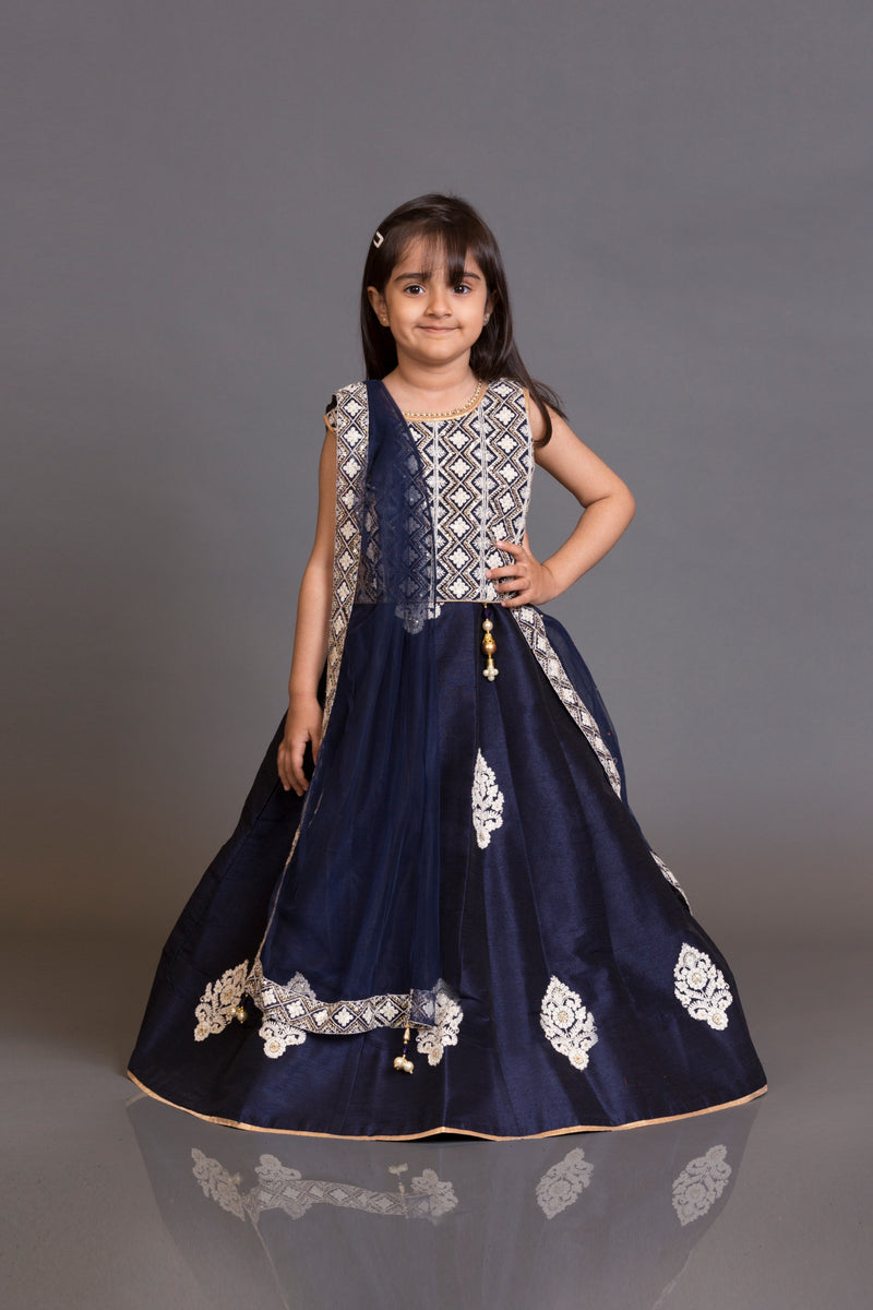 Kidswear navy blue top with skirt and net dupata