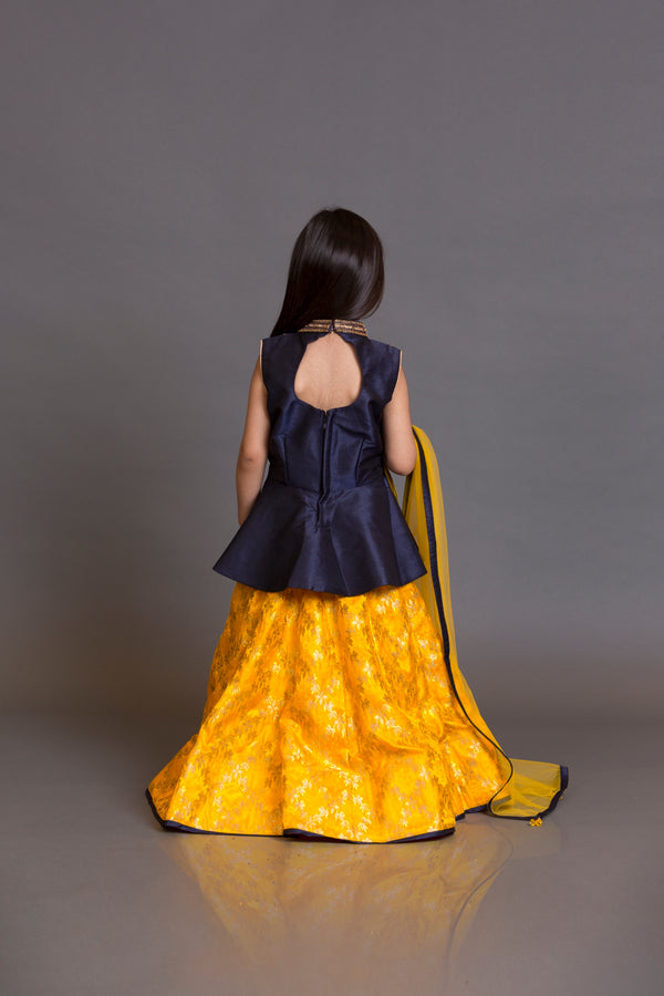 Kidswear navy blue peplum top with yellow skirt and yellow dupata