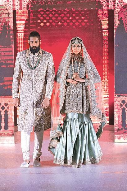 Mint Bridal Peplum Gharara and matching Sherwani