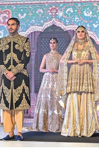 Bridal Peplum Jamawar Sharara and Navy Sherwani