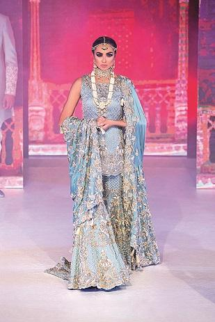 Powder Blue Bridal Gharara with Kameez