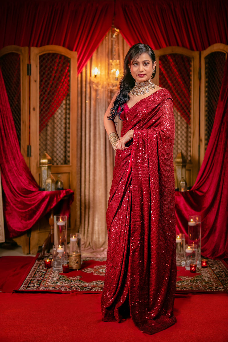 Blood Red Shimmer Sequins Saree