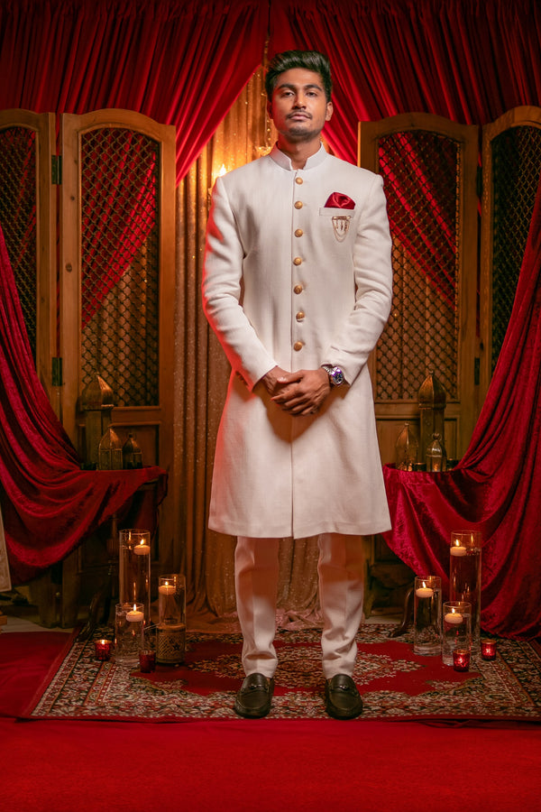 Plain Ivory Sherwani and Chudidar