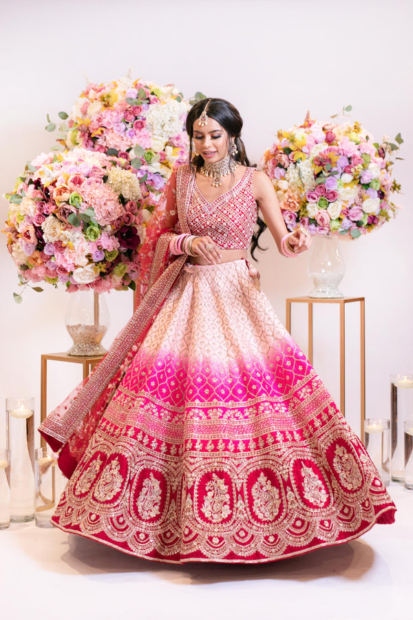 Bridal Ombre baby pink to hot pink to red Lehenga