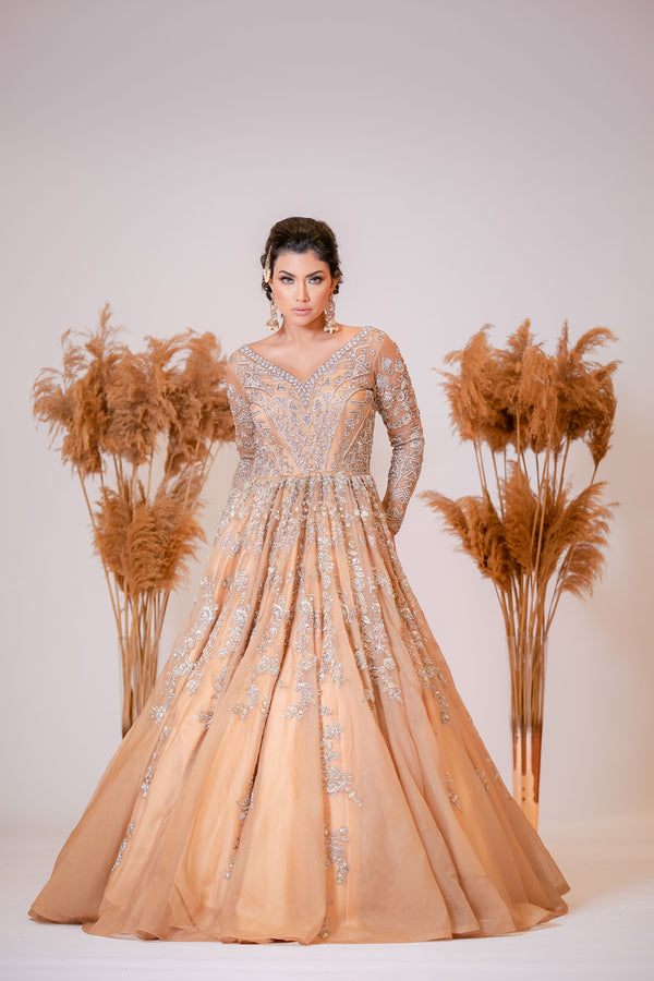 Golden Indo-western Bridal Reception Gown