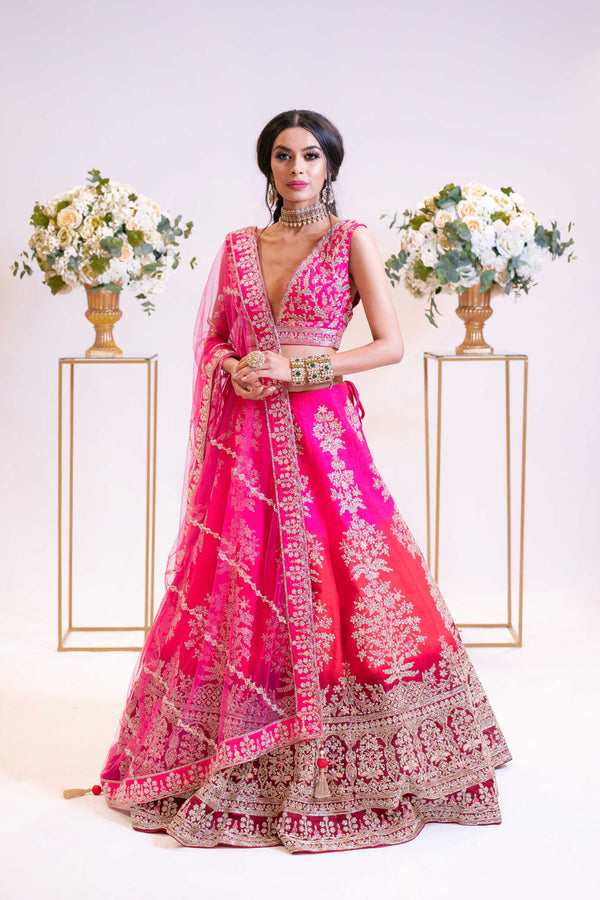 Ombre Bridal Lehenga in Hot Pink to Red Tone