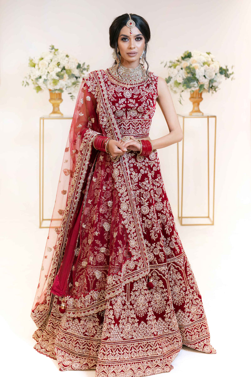 Dark Red Bridal Lehenga