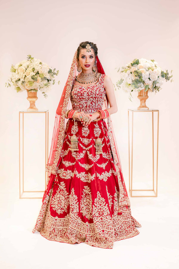 Heavy Red Bridal Lehega