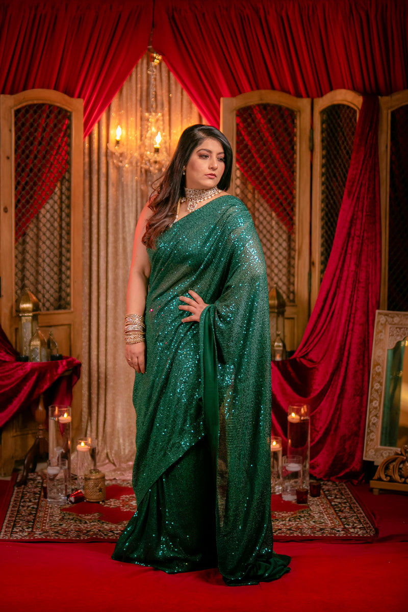 Emerald Green Shimmer Sequins Saree