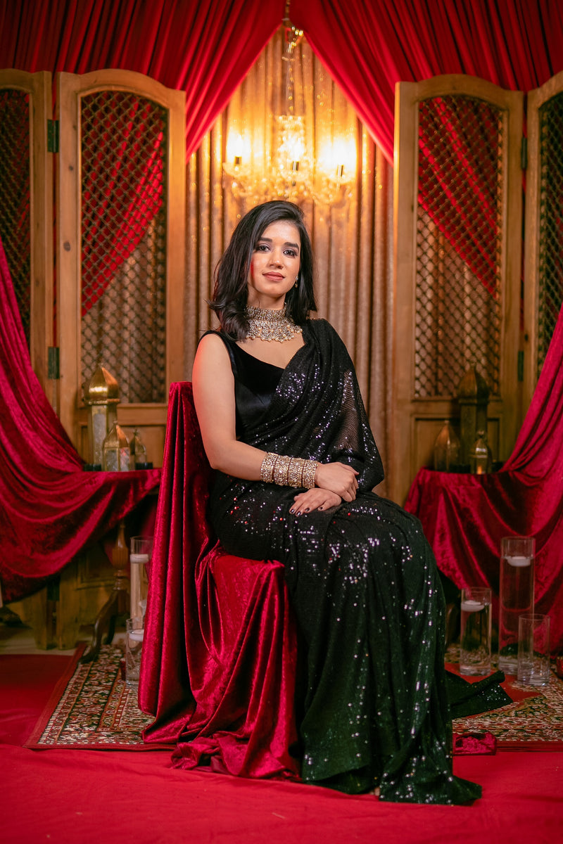 Brilliant Black Shimmer Sequins Saree