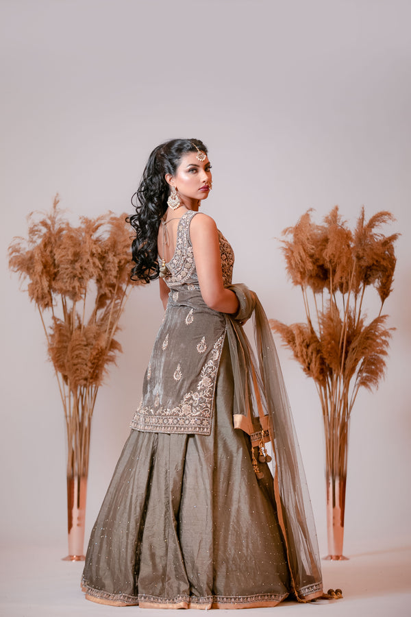 Grey velvet kameez with Skirt and Dupatta