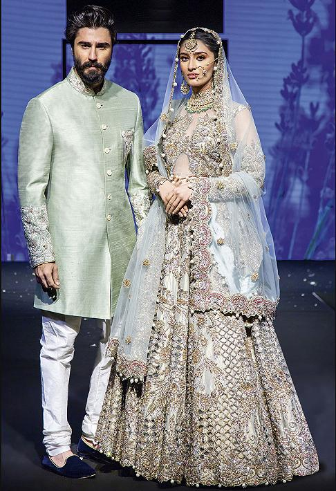 Mint Bridal lehenga and sherwani