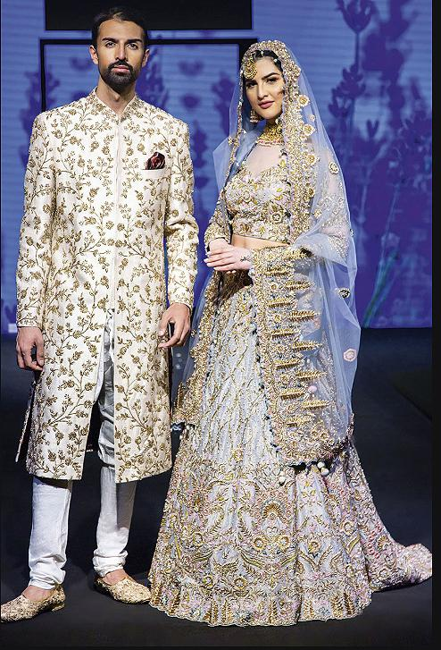 Grey Bridal lehenga and contrast Ivory sherwani
