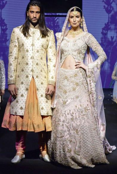 Baby Pink Bridal lehenga with matching Ivory sherwani and choga