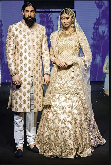 Bridal kameez and lehenga with trail and Sabya Style Grooms matching sherwani