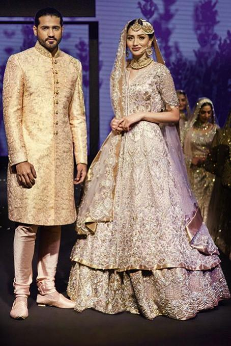 Tissue Fabric Mauve Designer Bridal peplum lehenga and golden sherwani