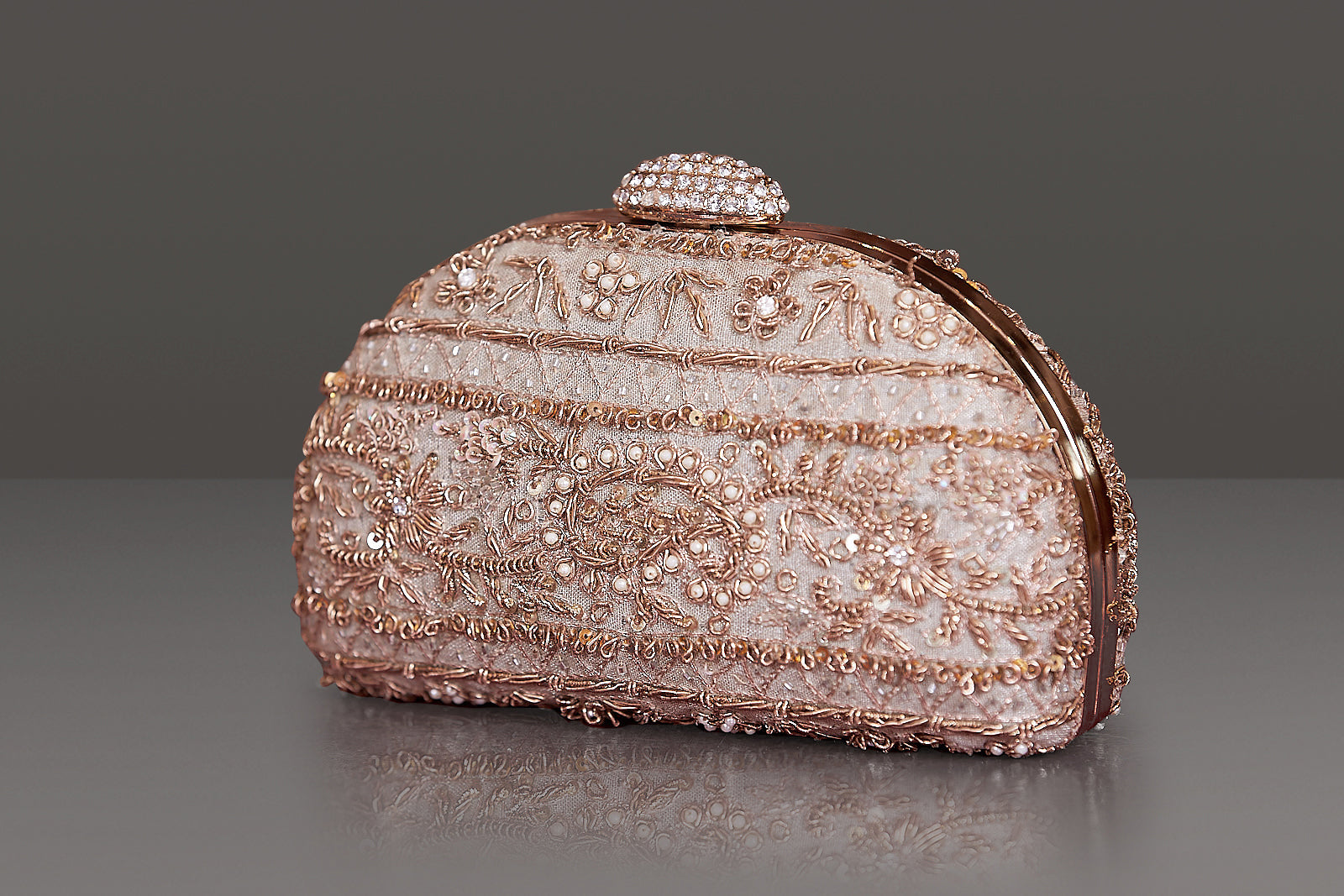 embroidered clutch bag pink