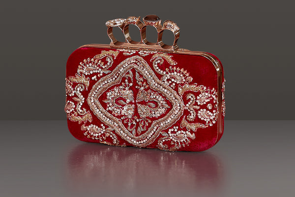 RED VELVET BOTH SIDED HEAVY DABKA EMBROIDERY IN A RECTANGULAR METAL FRAME