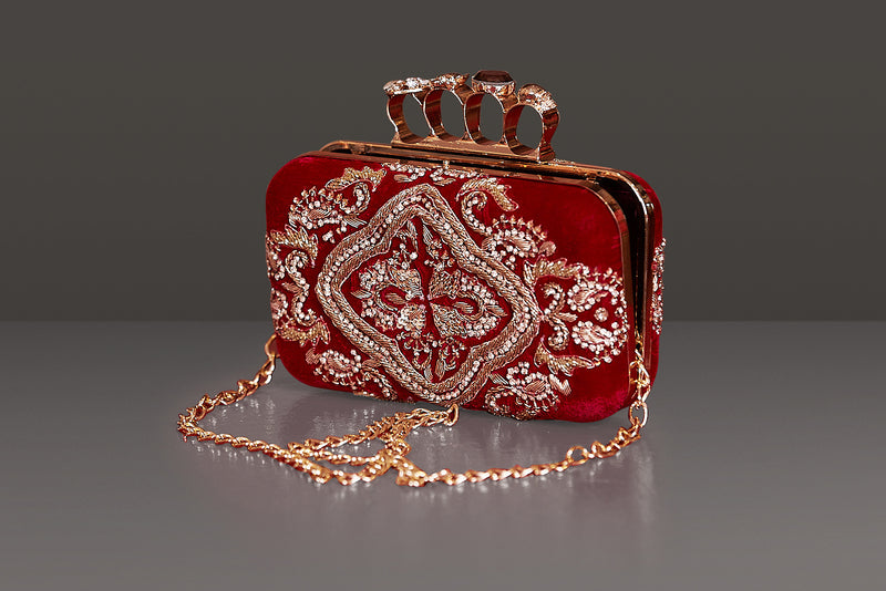 Red Velvet Metal frame Clutch with Heavy Dabka Embroidery
