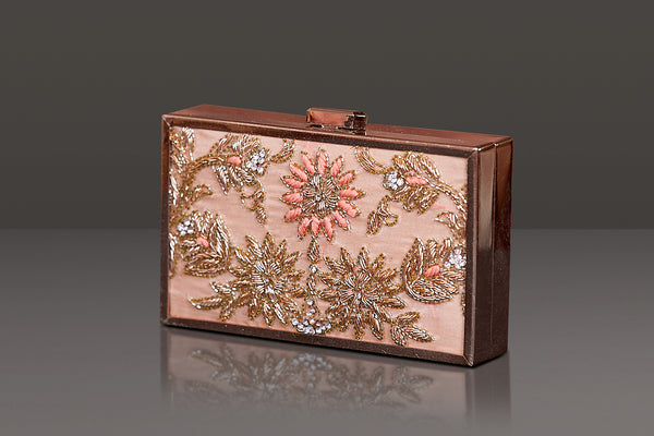 PEACH COLOUR DOUBLE SIDE ZARDOZI EMBROIDERY IN A ROSE GOLD METAL FRAME