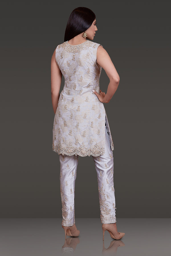 LIGHT GREY KAMEEZ WITH ZARI AND STONE WORK ALL OVER PAIRED WITH SILK PANTS AND NET DUPATTA