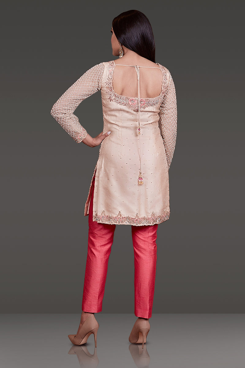 HEAVY EMBROIDERED KAMEEZ CONTRAST WITH RAW SILK PANTS PAIRED WITH NET DUPATTA